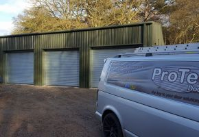 Three roller shutter door garages