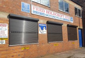 Closed Roller shutter windows for Fred Holdcroft